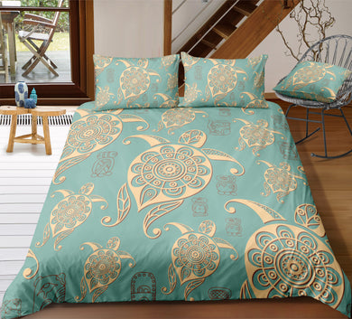Aztec Turtles - Turquoise - Doona Cover 2/3pc set - My Diva Baby