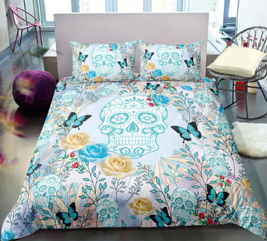 Blue Sugar Skull & Blue Butterflies Doona Cover 2/3pc set - My Diva Baby
