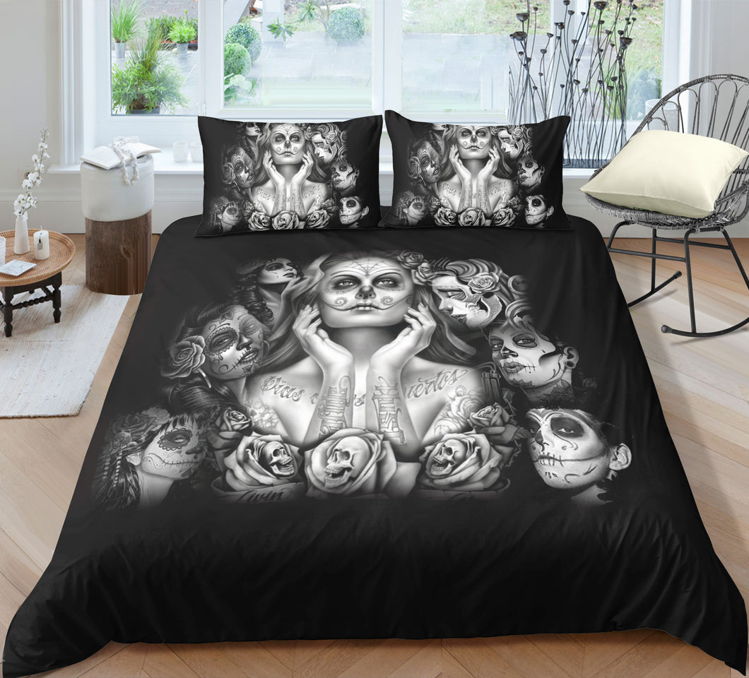 Day Of The Dead - Painted Ladies - Doona Cover 2/3pc set - My Diva Baby