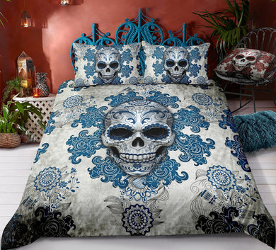 Day of The Dead Sugar Skull - Blue - Doona Cover 2/3pc set - My Diva Baby