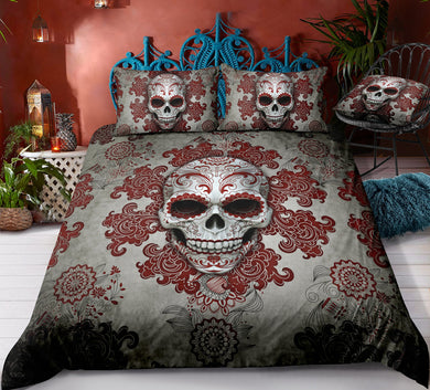 Day of The Dead Sugar Skull - Red - Doona Cover 2/3pc set - My Diva Baby