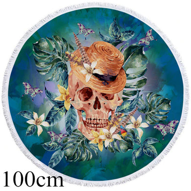 Floral Skull With Hat Round Beach Towel - 2 sizes