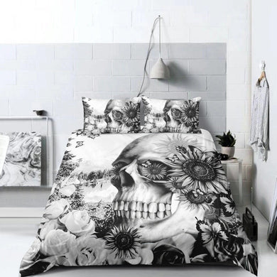 Flowered Skull Doona Cover 2/3pc set - My Diva Baby