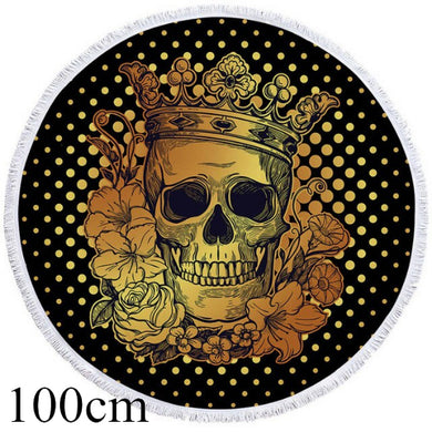 Golden Crowned Skull Round Beach Towel - 2 sizes