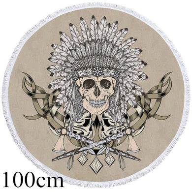 Indian Chief Skull Round Beach Towel - 2 sizes