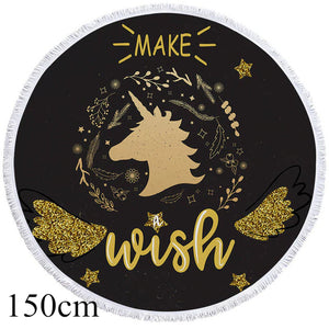Make A Wish Unicorn Round Beach Towel - 2 sizes