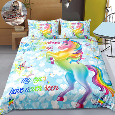 My Heart Believes - Blue - Unicorn Doona Cover 2/3pc set