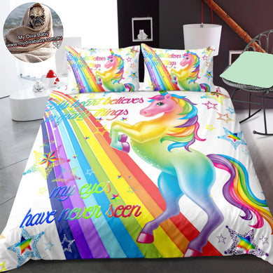 My Heart Believes - White - Unicorn Doona Cover 2/3pc set