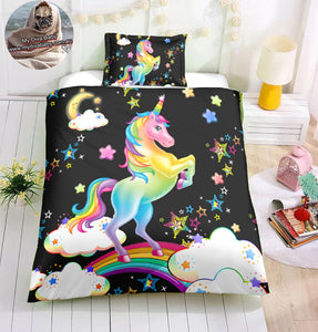 Over The Rainbow Unicorn Doona Cover 2/3pc set