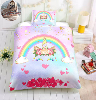 Rainbow Lashes Unicorn Doona Cover 2/3pc set