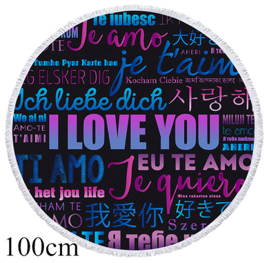 Love Letters Round Beach Towel - 2 sizes