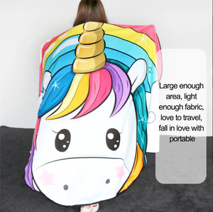 Rainbow Unicorn Large Beach Towel
