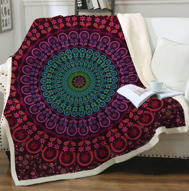 Red n Purple n Green Mandala Sherpa Throw Blanket - 4 sizes