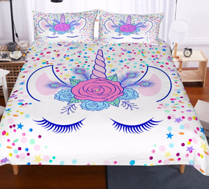 Unicorn Lashes - White - Doona Cover 2/3pc set - My Diva Baby
