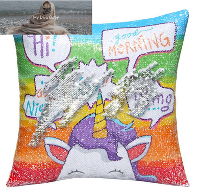 Sequined Unicorn Cushion Cover 40cm x 40cm - OMG - My Diva Baby
