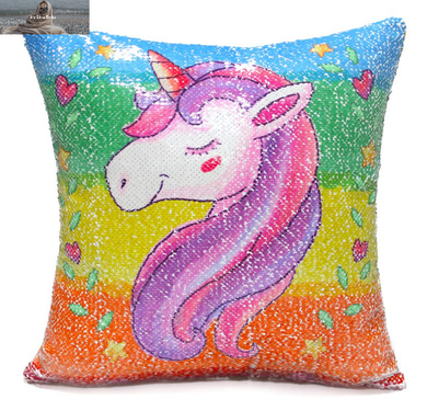 Sequined Unicorn Cushion Cover 40cm x 40cm - Rainbow - My Diva Baby