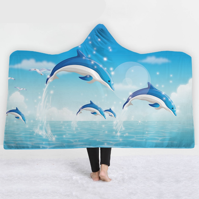 Dolphin Pod Hooded Blanket - 2 sizes