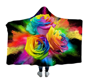 Rainbow Roses Hooded Blanket - 2 Sizes - My Diva Baby