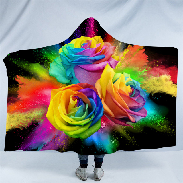 Rainbow Roses Hooded Blanket - 2 Sizes