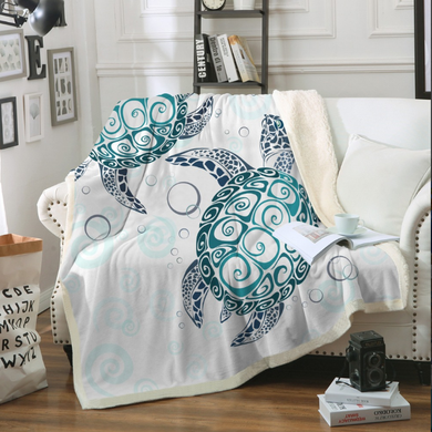 Blue Turtles With Bubbles Sherpa Throw Blanket - 4 sizes