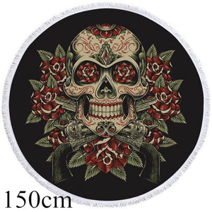 Vintage Red & Green Sugar Skull Round Beach Towel - 2 sizes