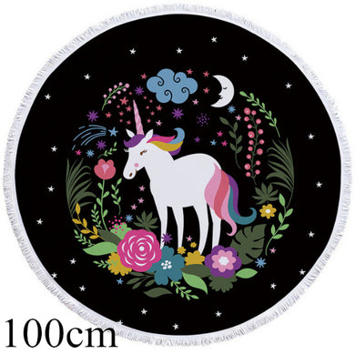 Floral Wreath Unicorn Round Beach Towel - 2 sizes