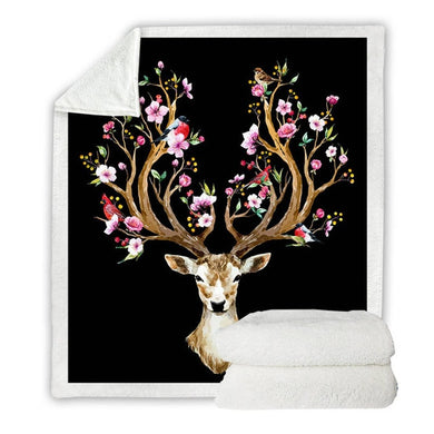 Floral Elk - Black - Sherpa Throw Blanket - 4 sizes