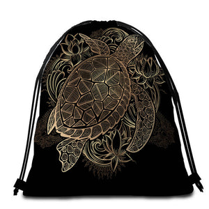 Golden Turtle Round Beach Towel - 2 sizes
