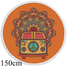 Hippie Bus - Orange - Round Beach Towel - 2 sizes