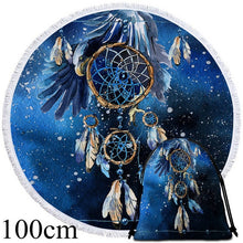 Blue Galaxy Dreamcatcher Round Beach Towel - 2 sizes
