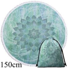 Green & Grey Lotus Round Beach Towel - 2 sizes