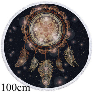Galaxy Mandala Dreamcatcher Round Beach Towel - 2 sizes