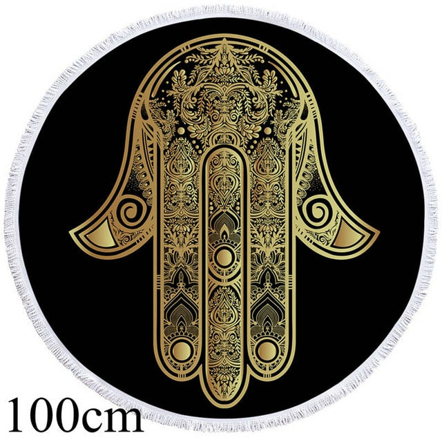 Golden Hamsa Hand Round Beach Towel - 2 sizes