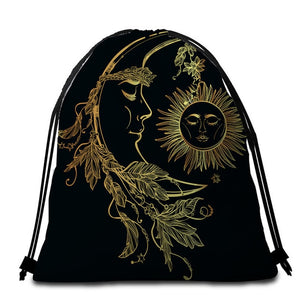 Golden Moon & Sun Round Beach Towel - 2 sizes