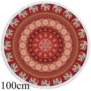 Red Mandala Elephant Round Beach Towel - 2 sizes