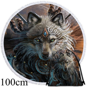 Wolf Warrior by SunimaArt Round Beach Towel - 2 sizes