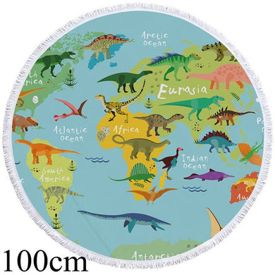 Dinosaurs Around The World Round Beach Towel - 2 sizes