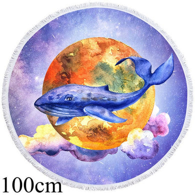 Moon Whale Round Beach Towel - 2 sizes