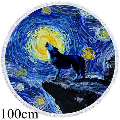 Painted Howling Wolf Round Beach Towel -2 sizes