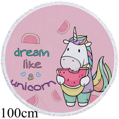 Dream Like A Unicorn Round Beach Towel - 2 sizes