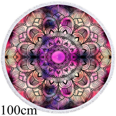 Purple Watercolour Mandala Round Beach Towel - 2 sizes