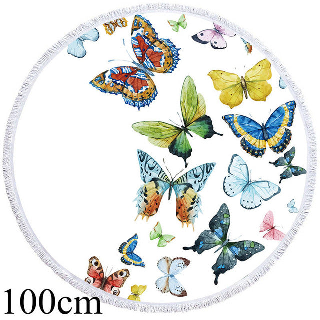 Flying Butterflies Round Beach Towel - 2 sizes