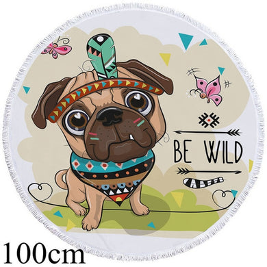Baby Pug Chief Round Beach Towel - 2 sizes