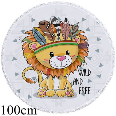 Baby Lion Chief Round Beach Towel - 2 sizes