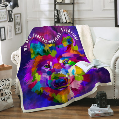 We Are Fearless Sherpa Throw Blanket - 4 sizes
