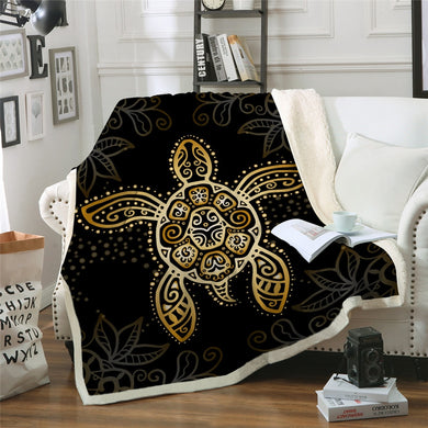 Gold Turtle Sherpa Throw Blanket - 4