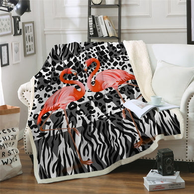 Funky Flamingo Sherpa Throw Blanket - 4 sizes