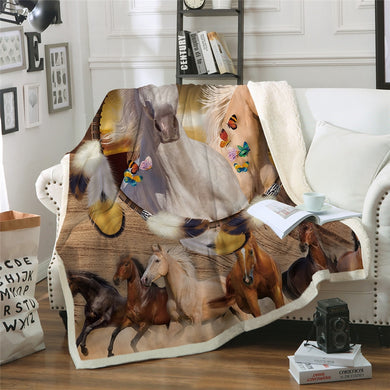 Butterflies & Horses Sherpa Throw Blanket - 4 sizes