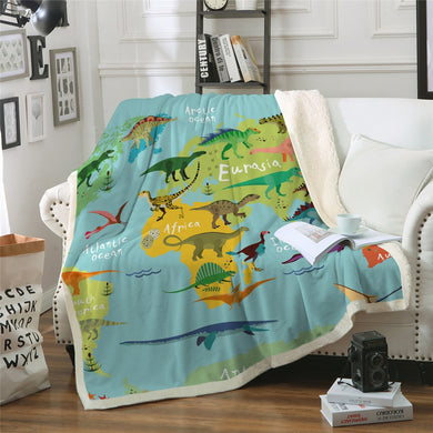 Dinosaurs Around The World Sherpa Throw Blanket - 4 sizes