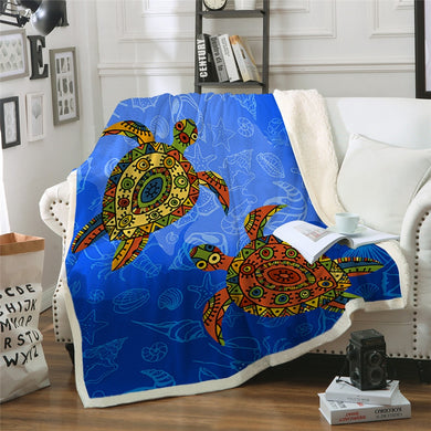 Turtle Art Sherpa Throw Blanket - 4 sizes